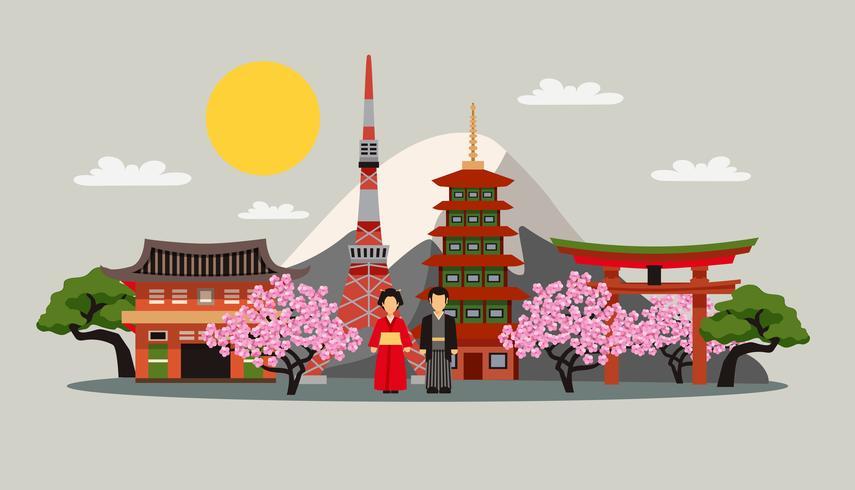 Japón símbolos composición plana cartel vector