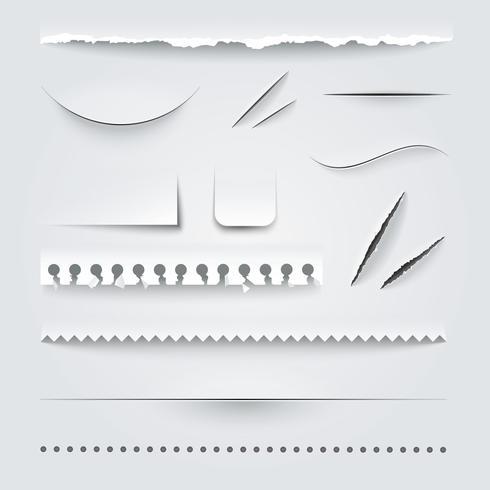 White Paper Kanten Schatten realistisches Set vektor