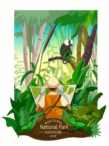 Poster di paesaggio pittoresco foresta tropicale