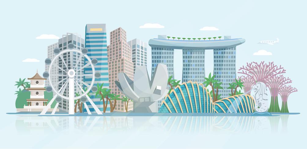 Cartel de vista panorámica plana de Singapur Skyline vector