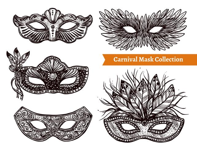 Carnival Mask Hand Drawn Set