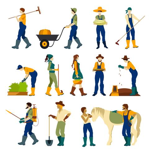 Jordbrukare på jobbet Plattformade ikoner