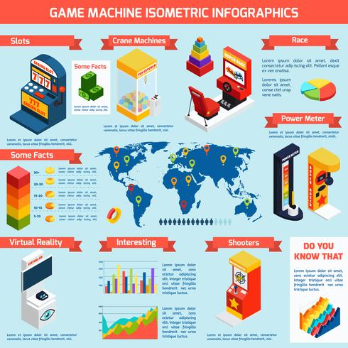 Spel Amusement Machines Isometric Infographics Banner vektor