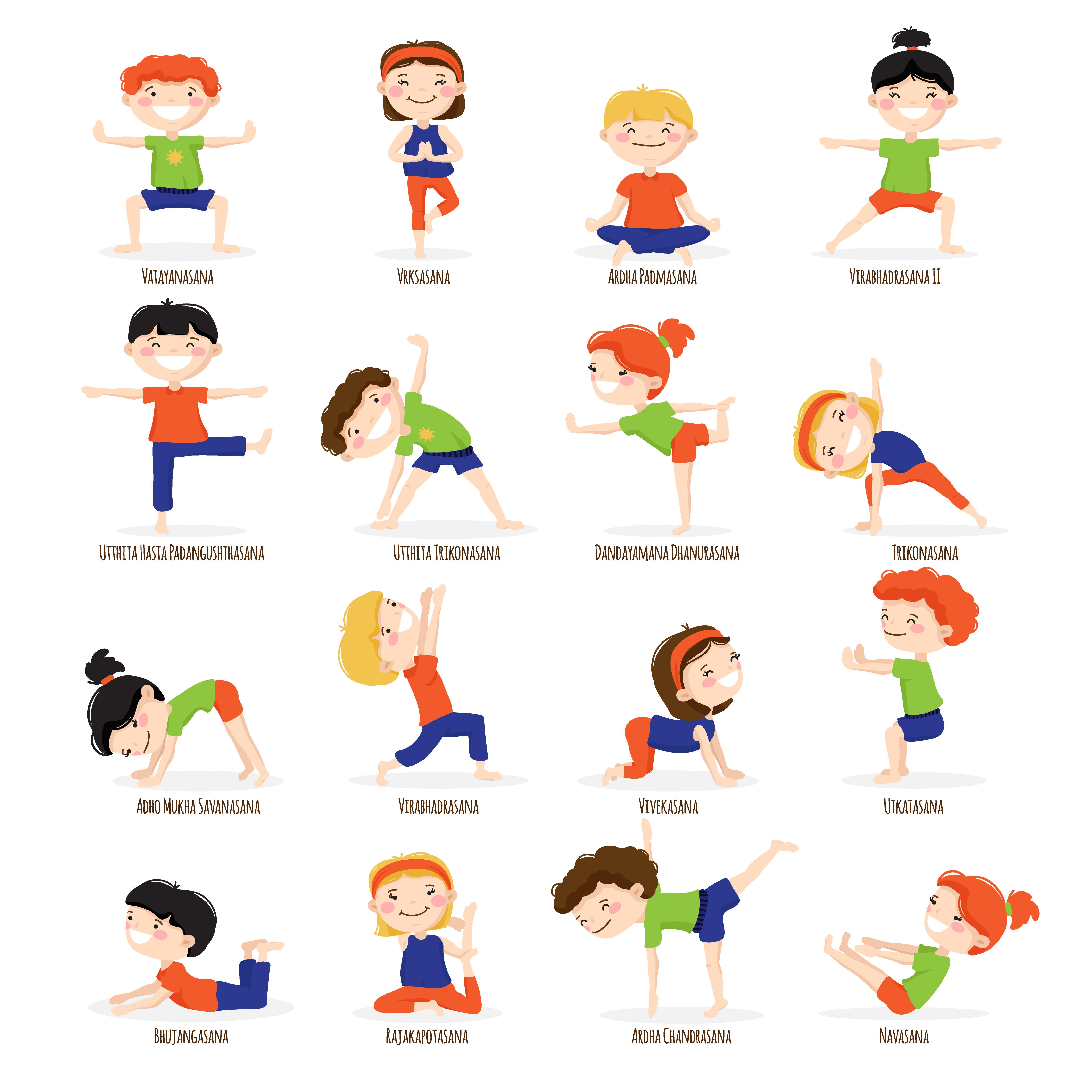 Kids Children Yoga Poses Cartoon Set Download Free Vectors Clipart Graphics Vector Art