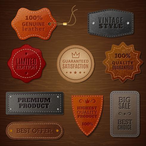 Ensemble d'étiquettes en cuir