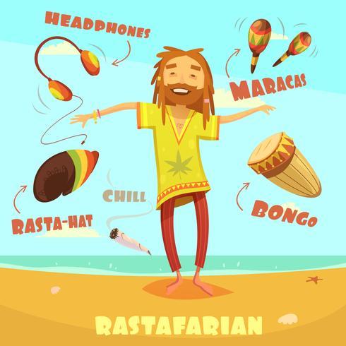 Rastafarian Karaktär Illustration vektor