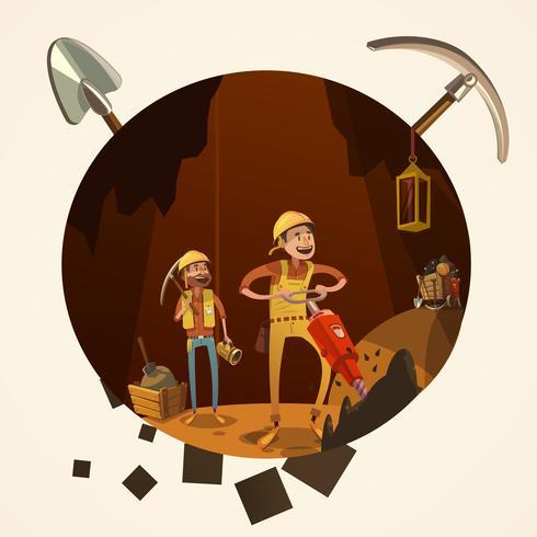 Ilustración de dibujos animados de minería vector