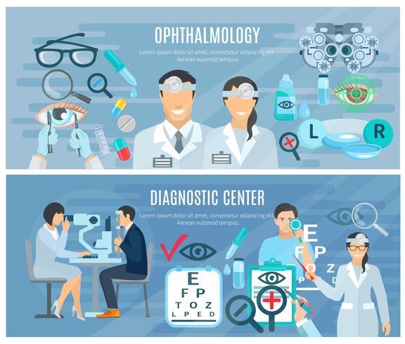 Conjunto de Banners planas centro de diagnóstico oftálmico vetor