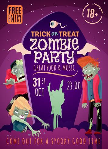 Cartaz do partido do zombi vetor