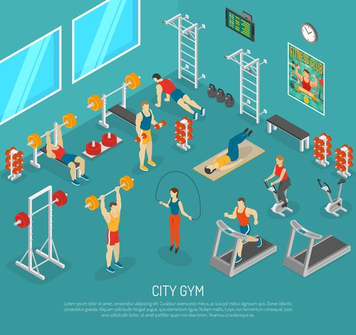 City Fitness Gym Center Isometrisk POST vektor