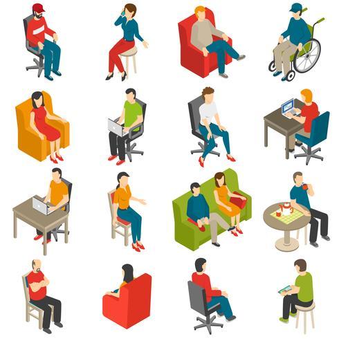Conjunto de iconos isométricos de personas sentadas