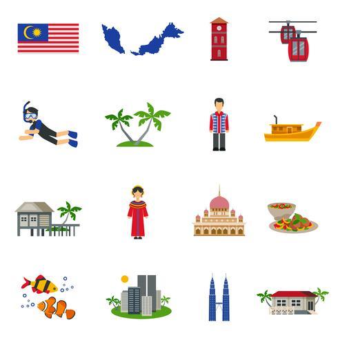 Malaysiska kultur symboler Flat ikoner Set