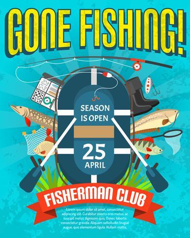 Poster di pesca con data di apertura della stagione vettore