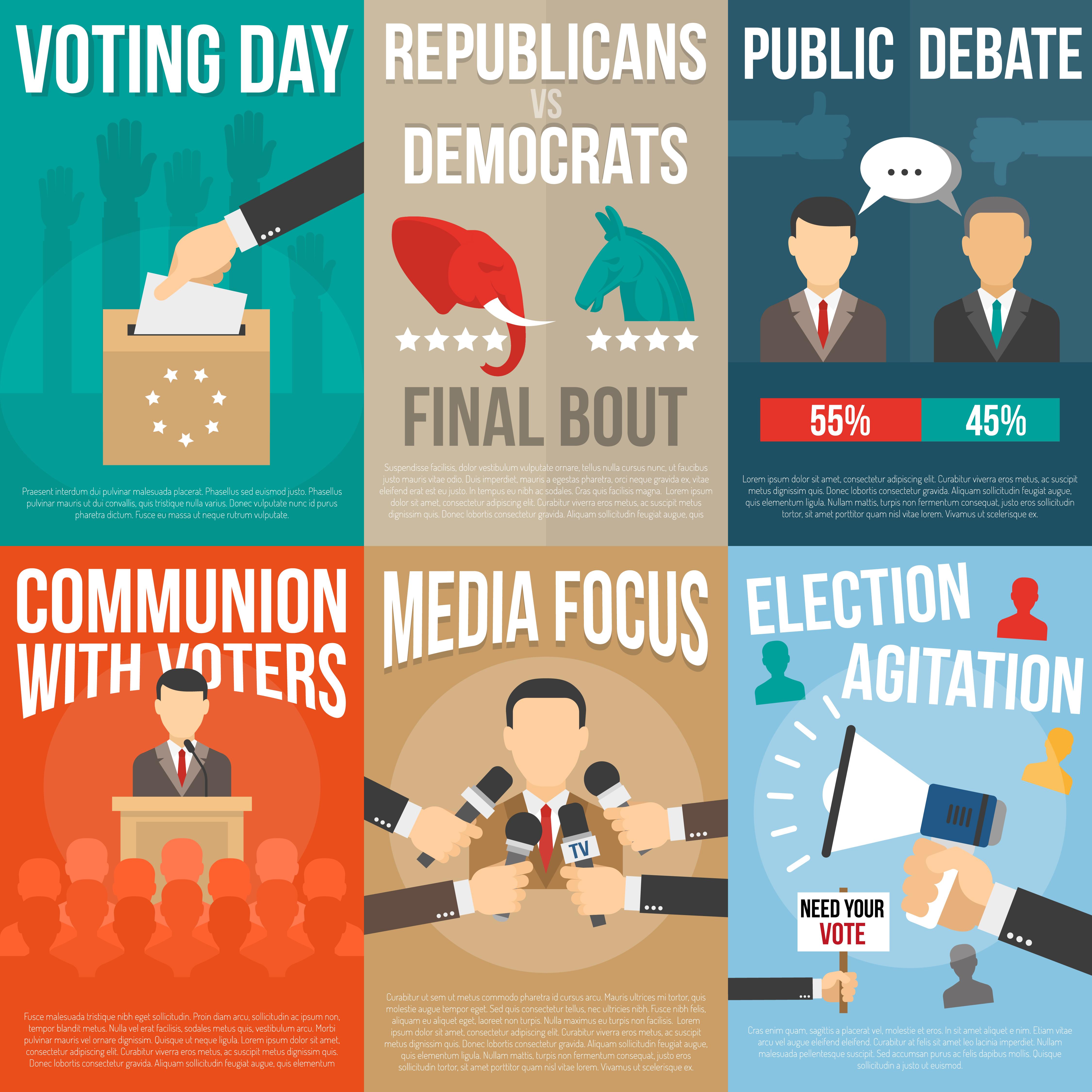 Election Poster Set Download Free Vectors Clipart Graphics