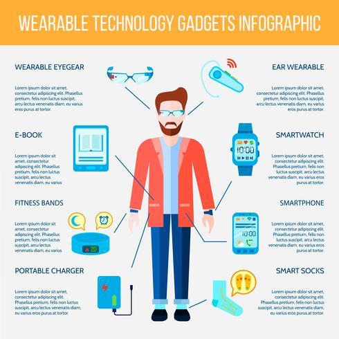 Slitstarkt Gadgets Infographic Set vektor