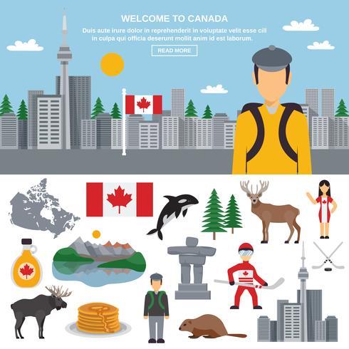 Jeu d'icônes plat du Canada