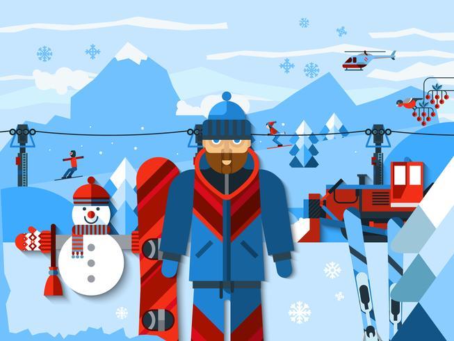 Composición de color plano de esquí