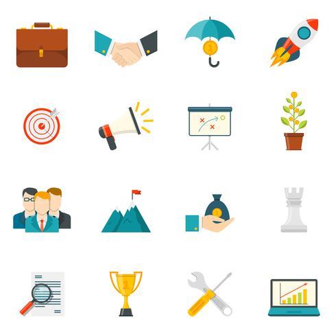 Iconos de colores planos de espíritu empresarial vector