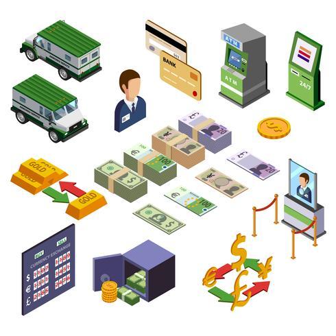 Banking Isometric Icons Set vector