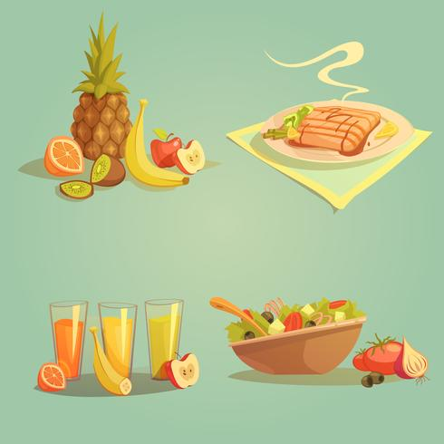 Hälsosam mat och dryck tecknad set