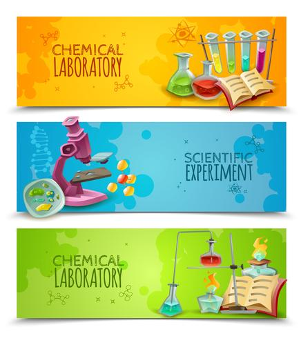Scientific Chemical Laboratory Flat Banners Set