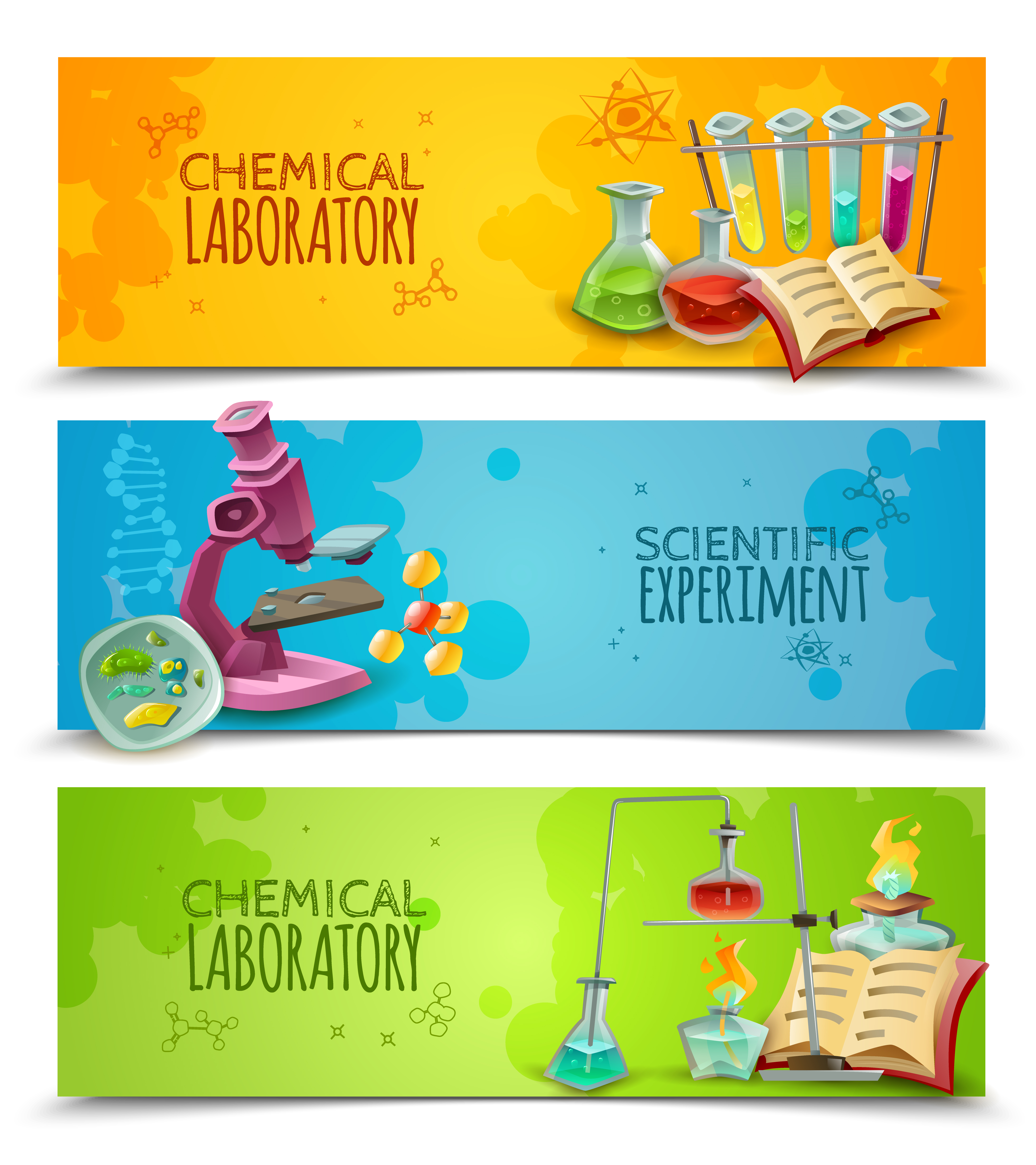 Science Laboratory Background Design: Scientific Chemical Laboratory Flat Banners Set