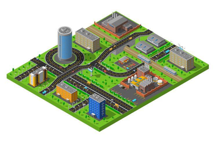 Isometrische stad industrieel gebied samenstelling Poster
