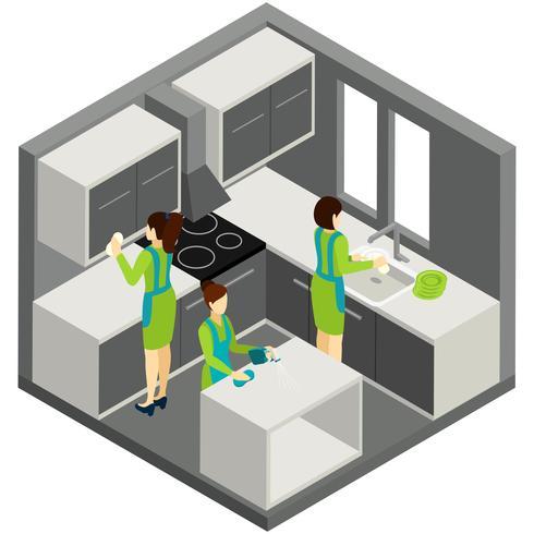 Pittogramma isometrico di aiuto della famiglia di pulizia di KItchen vettore