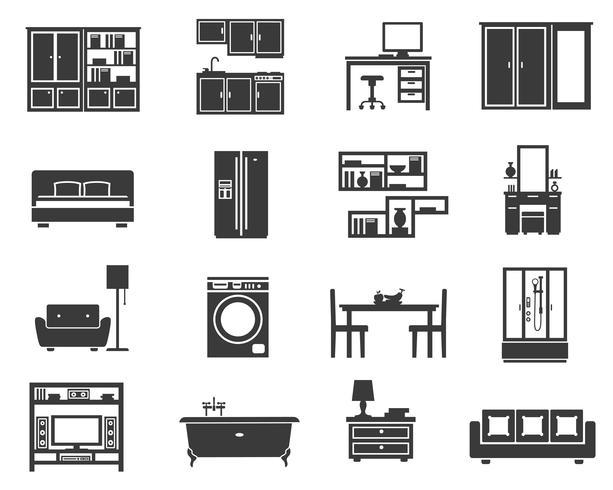 Koncept isolerade möbler ikonuppsättning