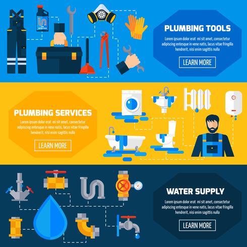 Conjunto de Banners planas de servicio de fontanería vector