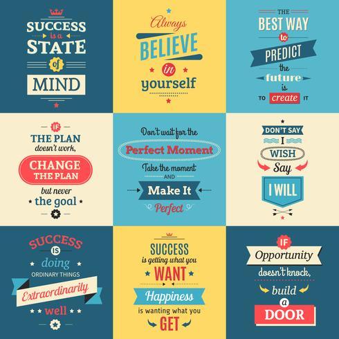 Citations de succès Posters isolés de couleur vecteur