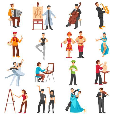 Ensemble d'icônes de personnes artiste vecteur