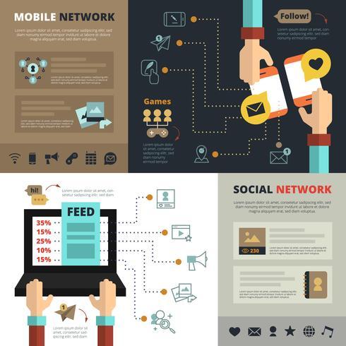 Caratteristiche di rete sociale Composizione di banner piatto