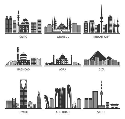 Colección de iconos negros de monumentos urbanos del este vector