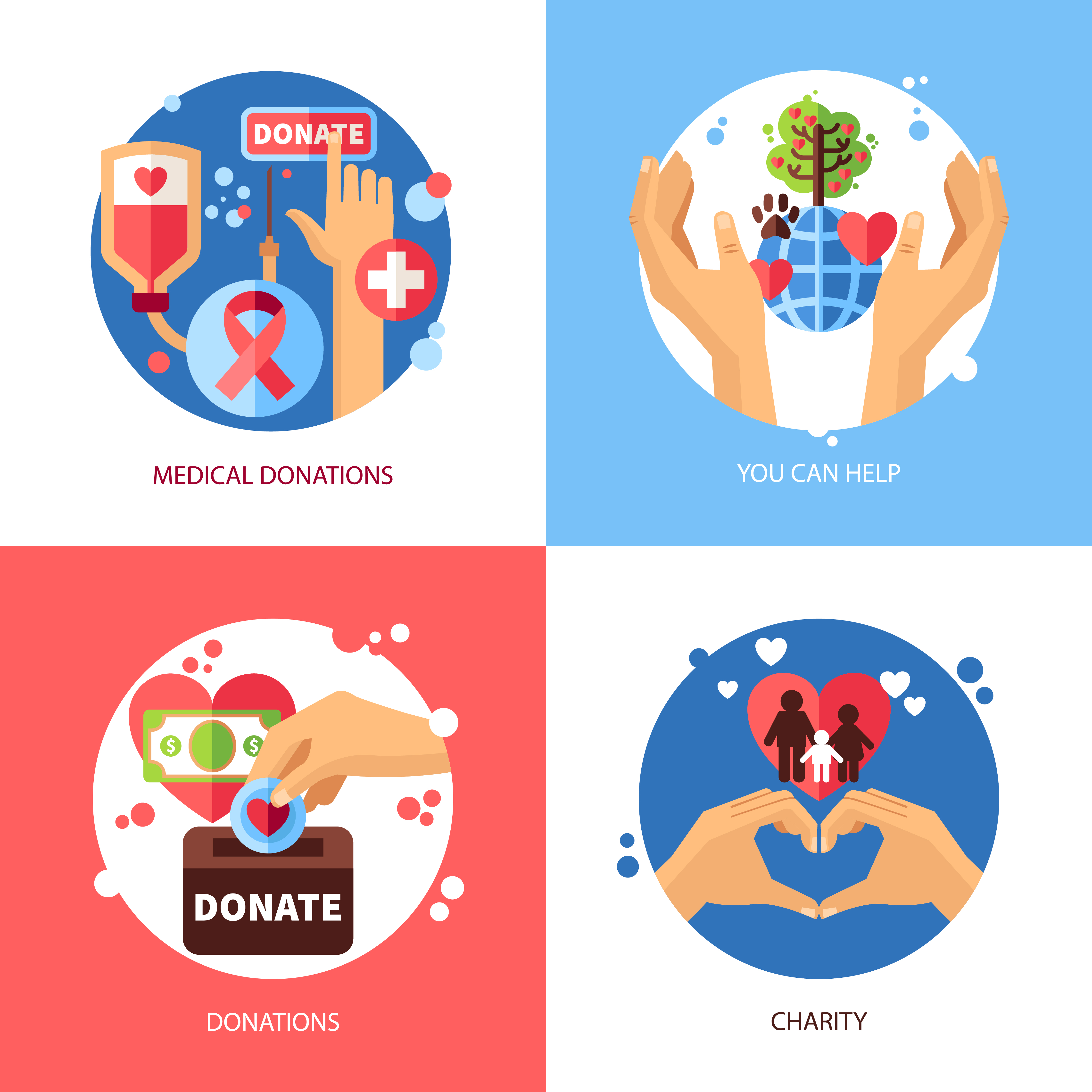 Charity Design Concept Icons Set 478870