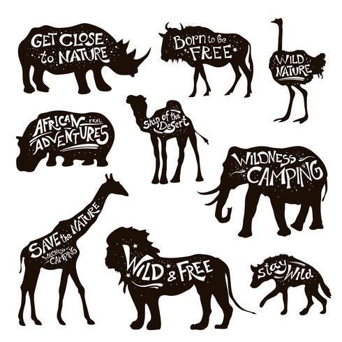 Set di icone nere di lettering animali selvatici