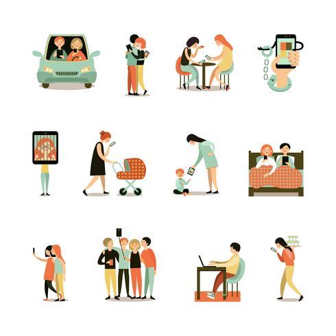 Jeu d'icônes décoratives de dépendance à Internet
