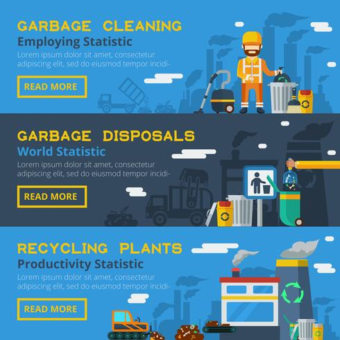 Garbage Recycling Horizontal Banners Set  vector