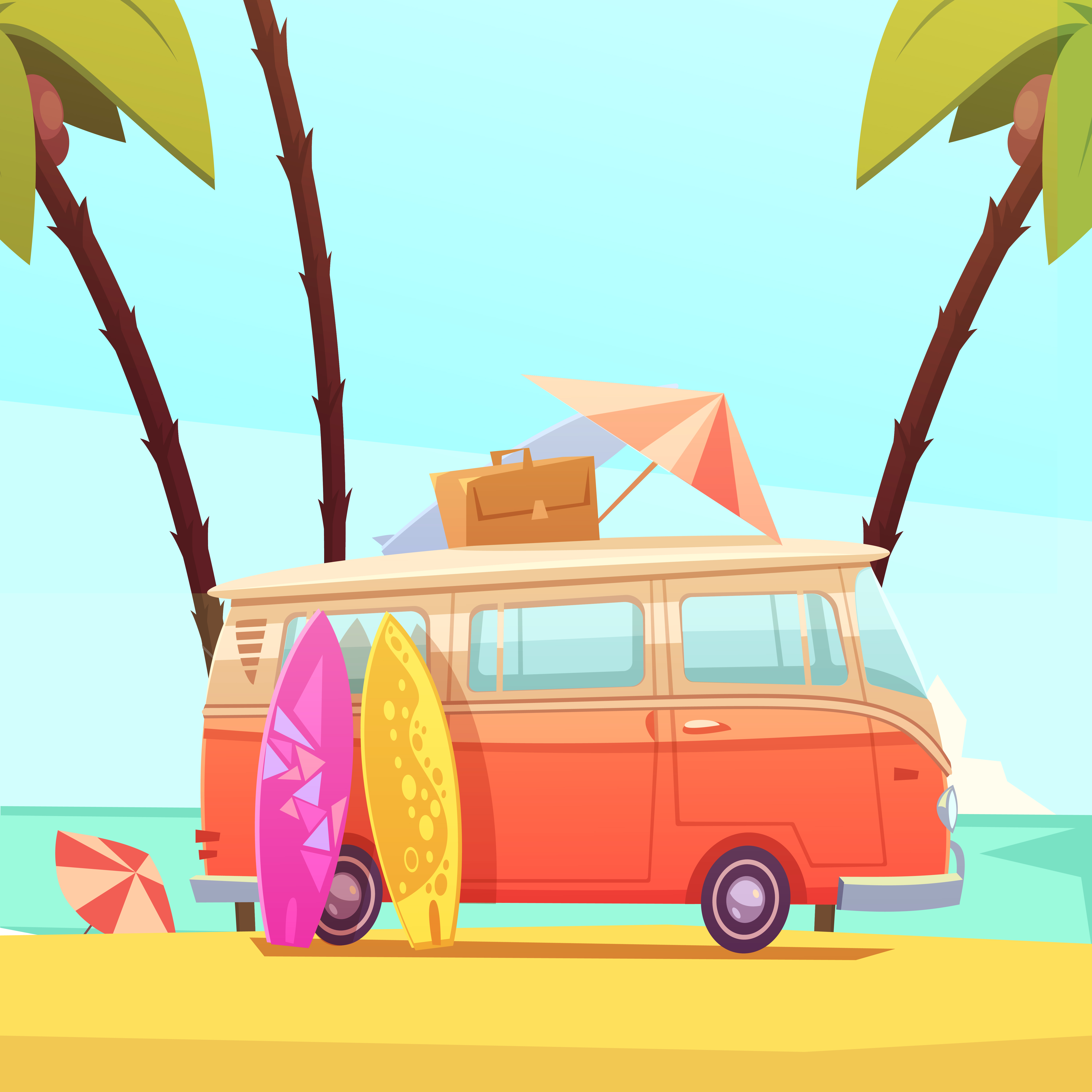 Surfing And Bus Retro Cartoon Illustration - Download Free ...
