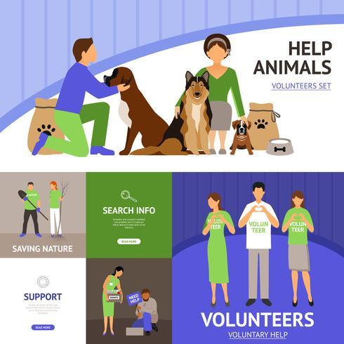 Conjunto plano de voluntarios