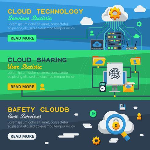 Tre Cloud Service Banners vektor
