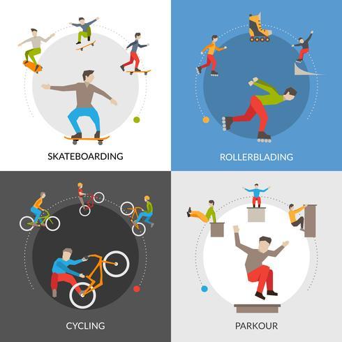 Concetto quadrato di sport urbani estremi