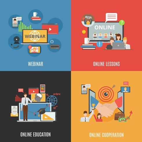 2x2 Design Concept Set di icone di Webinar