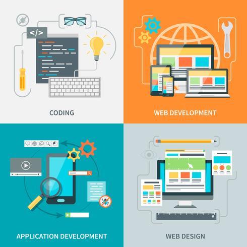 Website Development Picture Set vector