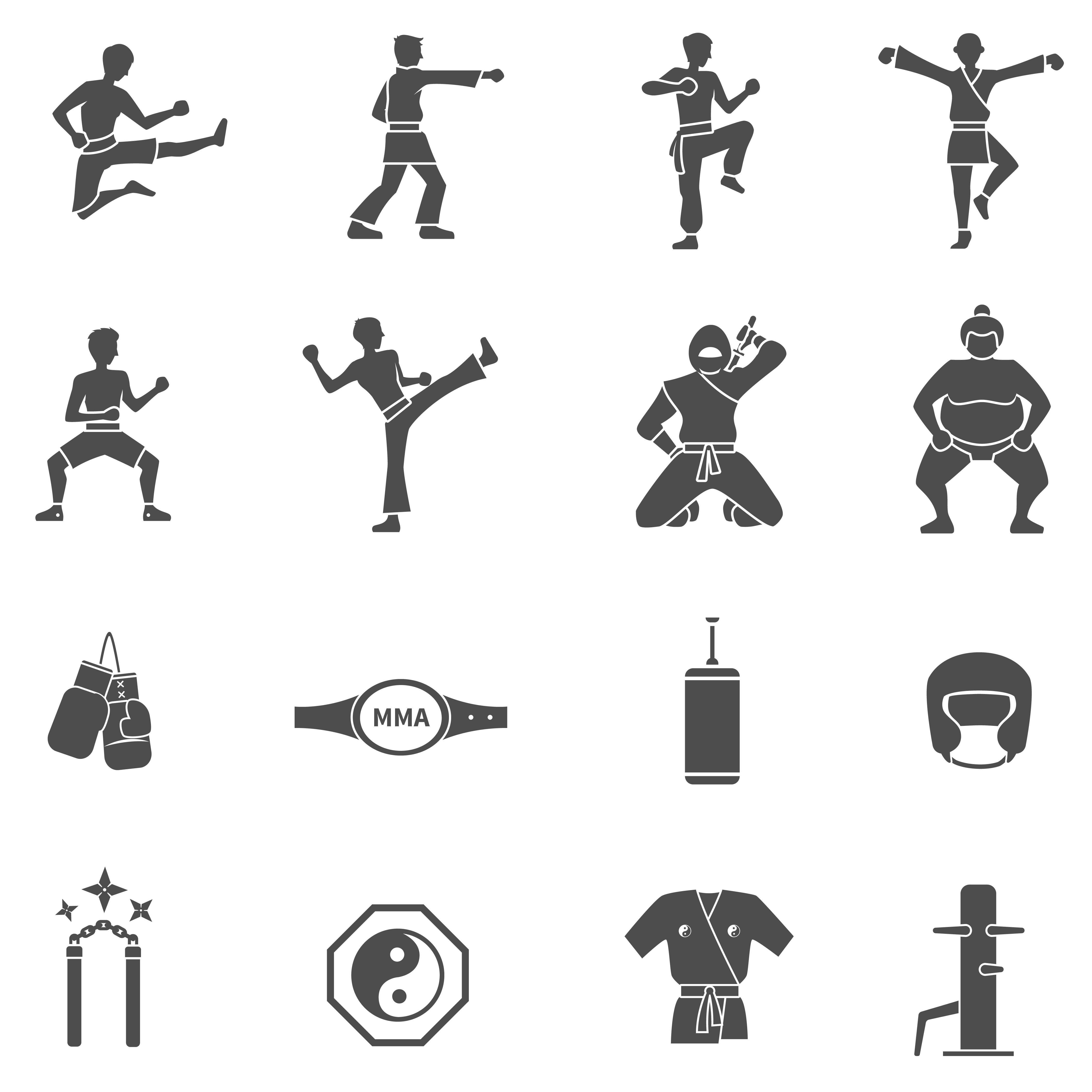 Conjunto De Icones De Artes Marciais Preto Branco Download