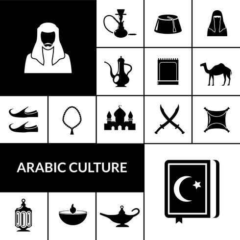 Ensemble d'icônes de culture arabe noir vecteur
