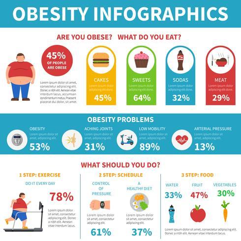 Obesidad problemas solución infografía plana cartel