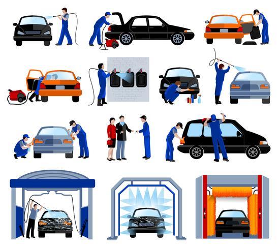 Servicio de lavado de coches pictogramas planos establecidos