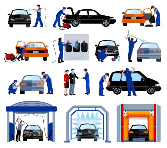 Car Wash Service Flat Pictogrammen Set
