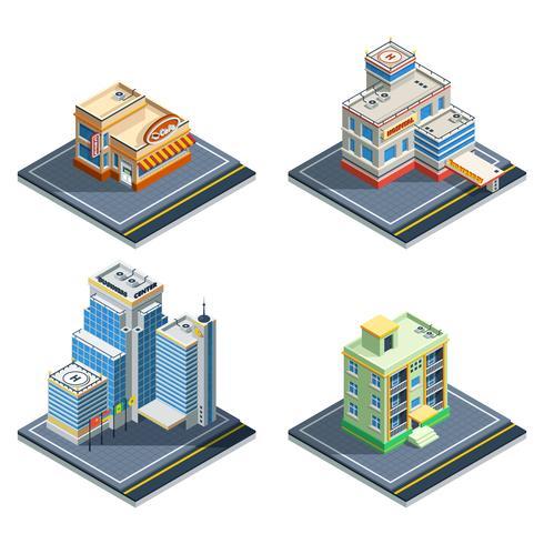 Edificio conjunto de iconos isométricos vector
